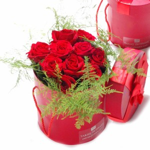 Roses bouquet in a red box