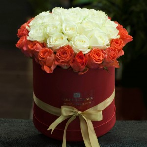 Orange & white roses bouquet