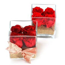 Forever roses in glass cube