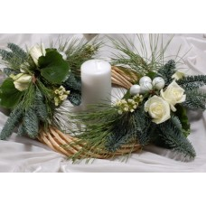 Christmas decorative wreath with roses
