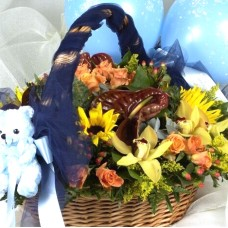 Basket with flowers and teddy bear for baby boys