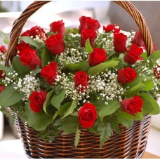 Classic romantic red roses basket