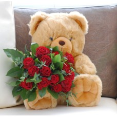 Teddy bear & red roses bouquet