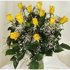Μπουκέτο με 12 κίτρινα τριαντάφυλλα