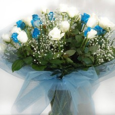 Unique bouquet of 30 white and blue roses