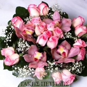 Pink orchids and roses
