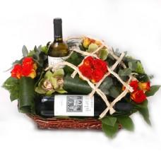 Flowers & Wine arrangement