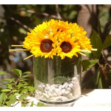 Sunflowers arranged in vase
