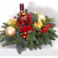 Arrangement of fresh noble fir and whiskey