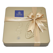Leonidas tin box with a variety of pralines