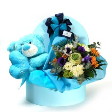 Blue box with teddy bear
