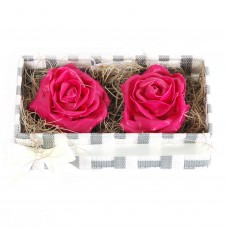 Wax roses in tray