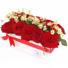 Red roses in elegant tray