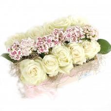 White roses in elegant tray