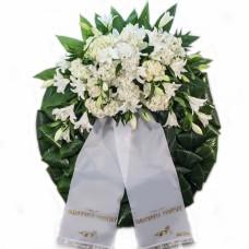 Wreath of hydrangeas and oriental lilies