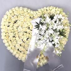 Sympathy wreath in heart shape