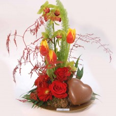 Red roses and Leonidas chocolate heart